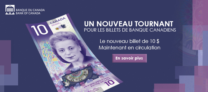 New 10 dollar bank note french