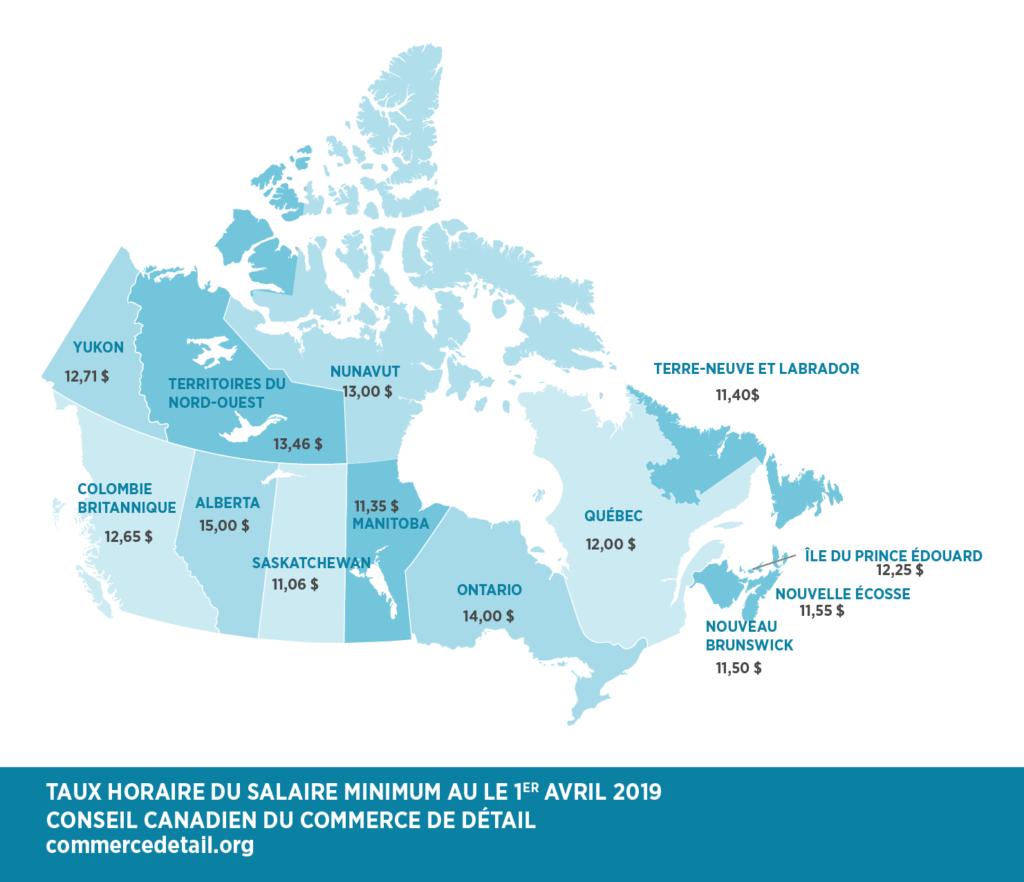 la carte des salaires minimums au Canada