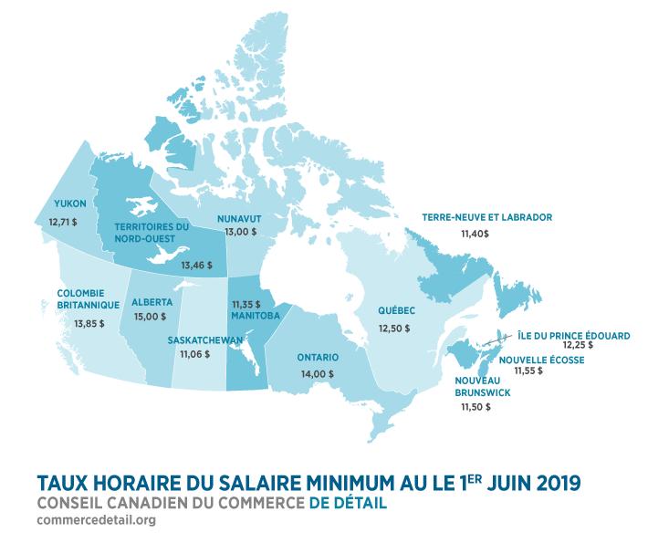 TAUX HORAIRE DU SALAIRE MINIMUM AU LE 1ER JUIN 2019