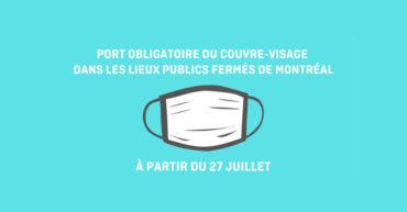 Port obligatoire du couvre-visage dans les lieux publics fermés de Montréal – Québec