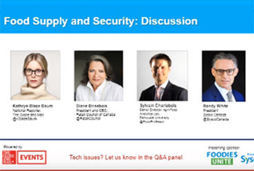Panel de discussion du Globe & Mail sur l'approvisionnement et de la sécurité alimentaires (anglais seulement)